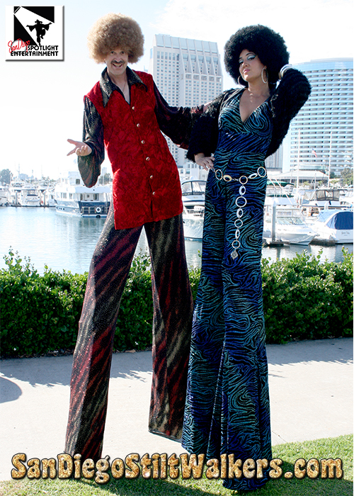 stilt walkers disco