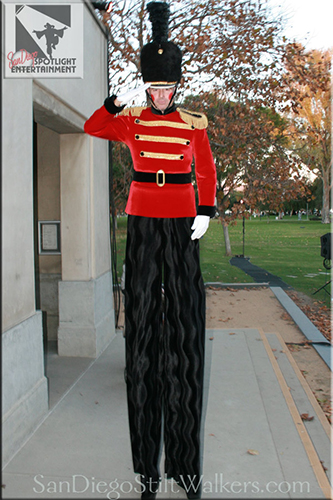 stilt walker toy soldier